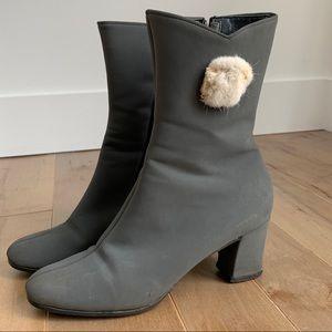 VINTAGE Grey Booties Fur Interior and Detail